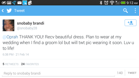 Oprah Twitter dress Fan will wear her dress for her wedding.