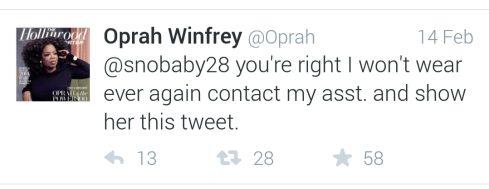 Oprah responds to Twitter Fan dress request