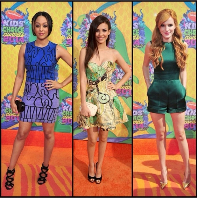 Tia Morwy in Versace and Jimmy Choo shoes Victoria Justice in a strapless Atelier Versace dress Jimmy Choo shoes Kotur Clutch Volu Jewelry Bella Thorne in a Green Valentino Romper Gold Louboutin shoes M2 Malletier clutch
