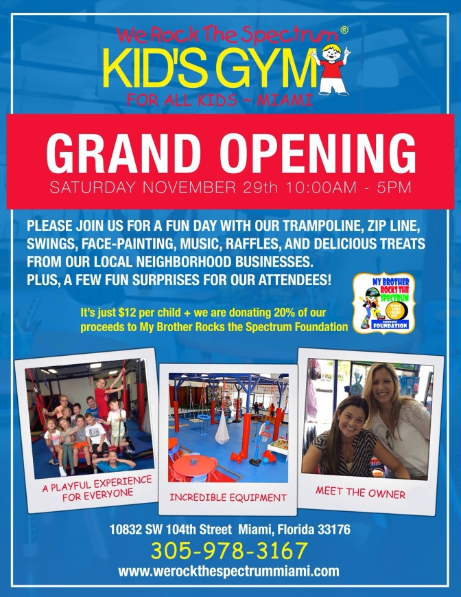 New for Special Needs Parents in Miami: We Rock The Spectrum Kids Gym + Giveaway