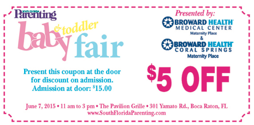 South Florida Parenting baby & toddler fair coupon